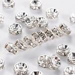 Brass Rhinestone Spacer Beads, Grade A, Crystal, Straight Flange, Rondelle, Silver Color Plated, 5x2.5mm, Hole: 1mm