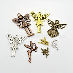 Tibetan Style Alloy Pendants, Angel & Fairy, Mixed Style, Nickel Free, Mixed Color, 15~80x13~53x1~8mm, Hole: 1~3mm