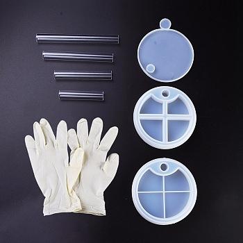 DIYレイヤード回転収納ボックスシリコンモールドキット, レジン型, UVレジン用, エポキシ樹脂ジュエリー作り, 使い捨てゴム手袋とプラスチックスティック, 透明, 3個/セット
