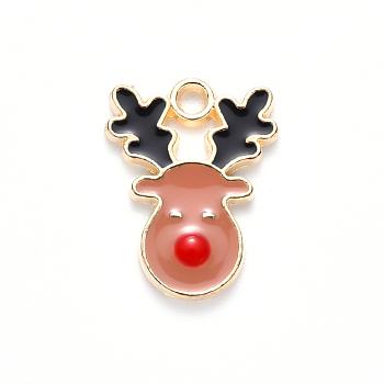 Colgantes de esmalte de aleación, para la Navidad, reno de navidad / ciervo, la luz de oro, darksalmon, 17x13x2mm, agujero: 1.6 mm