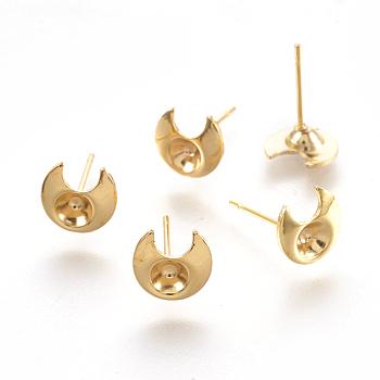 Componentes de oreja de 304 acero inoxidable, luna, dorado, 13mm, Luna: 8x7.5x2 mm, Bandeja: 3 mm, pin: 0.7 mm