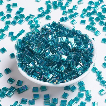 Cuentas de miyuki tila, Abalorios de la semilla japonés, 2 agujero, (tl2458) teal transparente ab, 5x5x1.9mm, agujero: 0.8 mm, aproximamente 118 unidades / 10 g