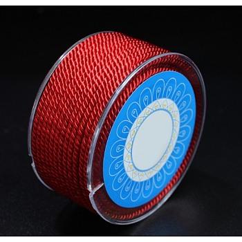 Cuerdas de nylon redondos, cuerdas de milán / cuerdas retorcidas, rojo, 1.5 mm; aproximamente 23 m / rollo