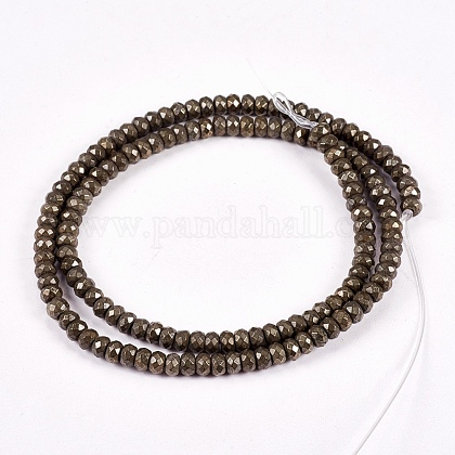 Natural Pyrite Beads Strands G-L051-4x3mm-01-1