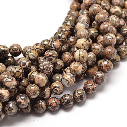 Natural Leopard Skin Jasper Round Bead StrandsG-P072-45-10mm-1