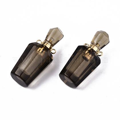 ファセット天然スモーキークォーツペンダント  開閉可能な香水瓶  ゴールデントーン真鍮パーツ  ボトル  36x15.5x15mm  穴:1.8mm  ボトル容量:1ml(0.034液量オンス)G-T131-14C-1