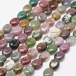 Chapelets de perles en agate indienne naturelle, ovale, 10x8x4mm, trou: 1.2 mm; 39 perle / Chapelet, 15.7