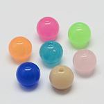 Abalorios de acrílico de imitación del jade, redondo, color mezclado, 10mm, Agujero: 2 mm; aproximamente 833 unidades / 500 g