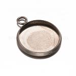 Redondas plana 304 bases colgante cabujón de acero inoxidable, tazas de bisel de borde liso, color acero inoxidable, Bandeja: 12 mm; 18x14x2 mm, agujero: 2.5 mm