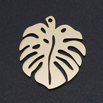 201 Stainless Steel Pendants, Monstera Leaf, Hollow, Golden, 24x21x1mm, Hole: 1mm