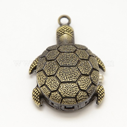 El reloj de cuarzo de la aleación de la tortuga 3d de la vendimia cuelga los colgantes para la fabricación del collar del reloj de bolsilloWACH-M109-16-1