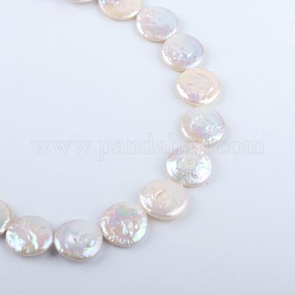 Cuentas de perlas keshi de perlas barrocas naturales redondas planas hebrasPEAR-R015-16-1