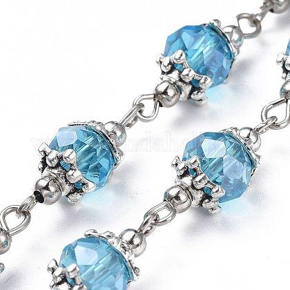 Handmade Glass Beaded ChainsAJEW-JB00498-03-1