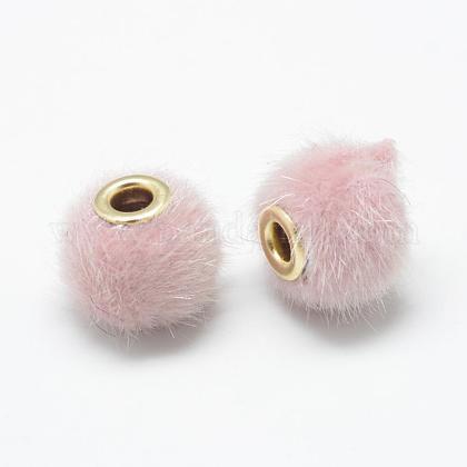 Handmade Faux Mink Fur European BeadsOPDL-S089-02I-1