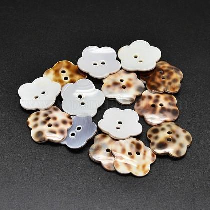 Los botones de concha natural los botones los botones de flores de 11mm agujero de 2 Botones 2b1724