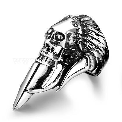 Punk Rock Style 316L Stainless Steel Skull Rings for MenRJEW-BB01239-8AS-1