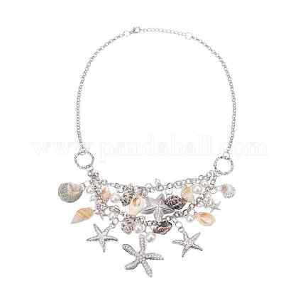 Collares babero moderno de estrella de mar y conchaNJEW-PH0001-16P-1