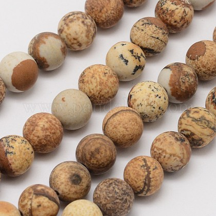 Natural Picture Jasper Beads Strands G-D686-12mm-1