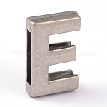 Tibetan Style Alloy Letter Slide Charms, Antique Silver, Letter.E, 15x10x4.5mm, Hole: 10.5x2.5mm