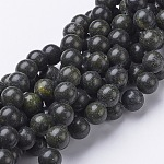 Gemstone Beads Strands, Natural Serpentine/Green Lace Stone, Round, OliveDrab, Size: about 10mm in diameter, hole: 1mm; about 40pcs/strands, 16