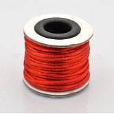 Macrame Rattail Chinese Knot Making Cords Round Nylon Braided String Threads, Red, 2mm; about 10m/roll