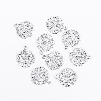 フラットラウンド真鍮の花の細工のパーツチャームペンダント  銀色のメッキ  15x13x0.5mm  穴:1mm