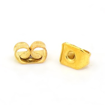 Iron Ear Nuts, Golden, 5x3.5mm, Hole: 1.2mm, about 400pcs/20g
