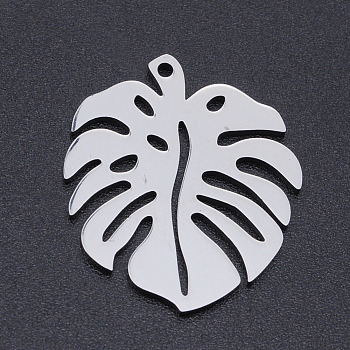 201 Stainless Steel Pendants, Monstera Leaf, Hollow, Stainless Steel Color, 24x21x1mm, Hole: 1mm