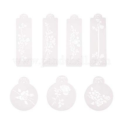 Plantillas de aerosol de flores de plásticoPH-DIY-G005-37-1
