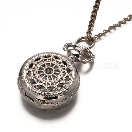 Alloy Flat Round with Spider Web Pendant Necklace Pocket WatchWACH-N013-03-1