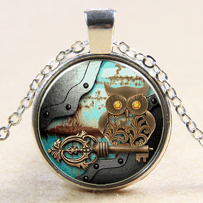 Owl Pattern Flat Round Glass Pendant Necklaces NJEW-N0051-030J-02-1