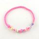 Flower Acrylic Pendant Necklaces and Stretch Bracelets Jewelry SetsSJEW-R048-04-6