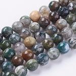 Chapelets de perles en agate indienne naturelle, facette, ronde, couleur mixte, 10mm, trou: 1mm; environ 38 pcs/chapelet, 15.75