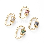 Brass Micro Pave Cubic Zirconia Screw Carabiner Lock Charms, for Necklaces Making, Oval, Golden, Mixed Color, 19x12x2mm