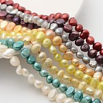 Natural Cultured Freshwater Pearl Beads Mix, Dyed, Two Sides Polished, Mixed Color, Potato, Beads: about 6-7mm in diameter, Hole: 0.8mm. 14