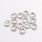 Brass Jump Rings, Close but Unsoldered, Nickel Free, Silver Color Plated, 20 Gauge, 4x0.8mm; Inner Diameter: 2.4mm; about 22000pcs/1000g
