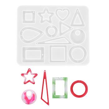 ペンダントシリコーン金型  エポキシレジン型  UVレジン用  DIYジュエリークラフト作り  幾何学的形状  ホワイト  117x98x4~5mm  穴:1~2mm