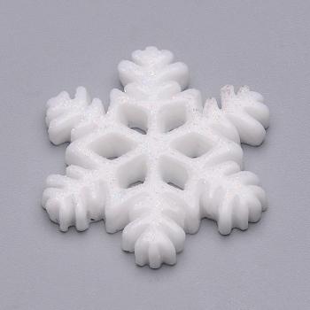 Cabuchones de resina, con polvo del brillo, Navidad, copo de nieve, nieve, 20x18x3mm