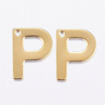 Encantos de 304 acero inoxidable, carta, encantos iniciales, letter.p, 11x6~12x0.8mm, agujero: 1 mm