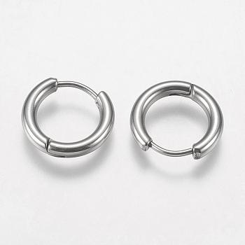304 acero inoxidable fornituras de pendientes de aro huggie, color acero inoxidable, 10 calibre, 14x15x2.5 mm; pin: 0.9 mm