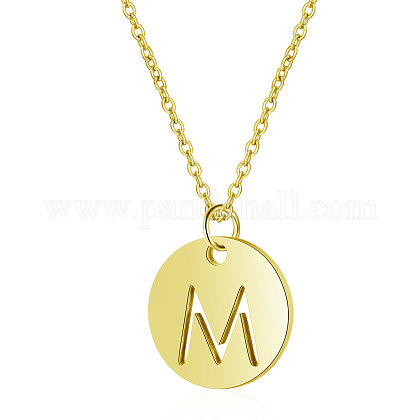 304 Stainless Steel Initial Pendants Necklaces NJEW-S069-TN508-M-1