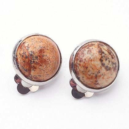 Natural Picture Jasper Brass Clip-on Earrings EJEW-A051-B004-1