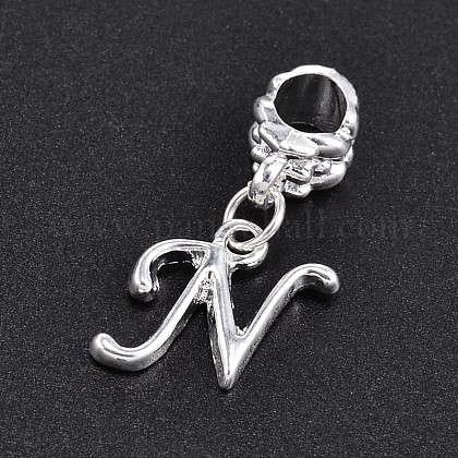 Large Hole Platinum Plated Alloy Letter Pendant European Dangle Beads PALLOY-P095-01-N-1