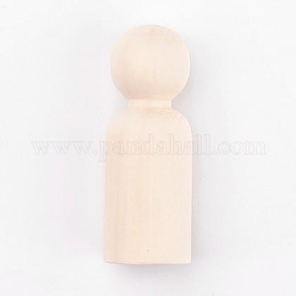 Madera sin terminar masculina clavija muñecas personas cuerposDIY-WH0059-09D-1