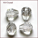 Imitation Austrian Crystal Beads, Grade AAA, Faceted, teardrop, Clear, 10x12mm, Hole: 0.9~1mm