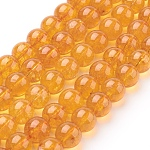 Natural Quartz Crystal Beads Strands, Round, Dyed & Heated, Gold, 10mm, Hole: 1mm; about 19pcs/strand, 8