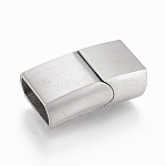 304 Stainless Steel Magnetic Clasps, Rectangle, Stainless Steel Color, 23x13.5x8mm, Hole: 6x12mm
