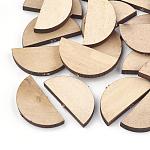 Undyed Natural Wood Beads, Flat Half Round, BurlyWood, 15x30x4mm, Hole: 1.8mm