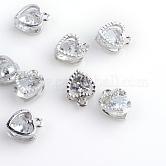 Charms de la aleación del corazón, con circonita, Platino, 12x8.5x5mm, agujero: 1 mm