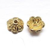 Véritables chapeaux de perles en argent sterling plaqué or 18 k 6 pétales, fleur, or, 7x3.5mm, trou: 1.5 mm; environ 52 pcs / 20 g